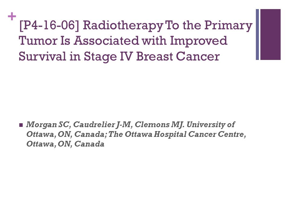 [P4-16-06] Radiotherapy To the Primary Tumor Is Associated with Improved Survival in Stage IV Breast Cancer
